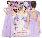 KATIE Lilac Lace Full Length Bridesmaid Prom Evening  Dress UK Sizes 8 - 20