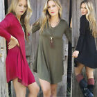 Womens Sexy V Neck Long Sleeve Tops Casual Loose Shirt Mini Dress Plus Sundress