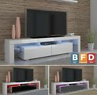 190cm White high gloss TV Unit Modern TV Cabinet Entertainment Stand Storage LED