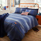 Catherine Lansfield Denim Stripe Blue White Red Duvet Quilt Cover Bedding Set