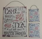 """"""" Tea & Happy Things"""" Vintage Retro Style Metal Sign Wall Plaque, or Magnet"""
