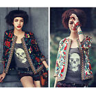 Women Embroidery Ethnic Casual Coat Short Jacket Long Sleeve Autumn Outerwear