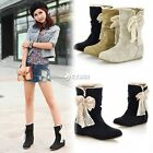 NEW Women Mid Calf Soft Snow Boots Lace Bowknot Low Heel Flat Wedge Shoes DZ88