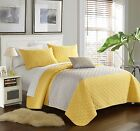 4 Pc Dominic Geometric Quilting Embroidery King Quilt Set Yellow Shams