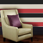 Red - Cream - Black - Striped Wallpaper - Olivia - Big Stripe Wall Decor - 6166