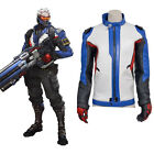 OW 76 Soldier Stand Collar Zip up Leather Cosplay Costume Hoodies Jackets Coats