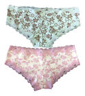 2 Pack Womens Cute Pink / Blue Lace Trim Floral Cotton Panties / Underwear