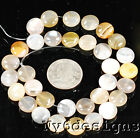 "12x12x4mm Natural Bostwana Agate Coin Beads 15""(AG193)a"