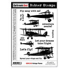 Darkroom Door Cling Mounted Rubber Art Stamps - Vintage Planes DDRS146