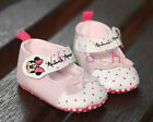 Newborn Baby Girl Minnie Mouse Pink Mary Jane Soft Sole Crib Shoes 0-18 Months