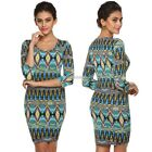 Lady FINEJO Package Hip Dress Bohemia Style Women Geometric Pattern Elegant N98B