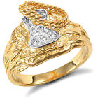 Jewelco London 9ct Gold CZ Horse Saddle Rope Ring