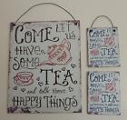 """ Tea & Happy Things"" Vintage Retro Style Metal Sign Wall Plaque Small or Medium"