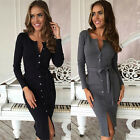 Women Ladies Long Sleeve Knee Length Button Up Cocktail Evening Party Dress Tops