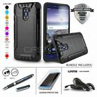 BRUSHED ARMOR SHOCKPROOF HYBRID COVER PHONE CASE FOR ZTE GRAND X MAX 2 +BUNDLE
