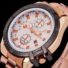 Luxury Mens Dial Stainless Steel Watch Military Date Analog Sport Wrist Watch