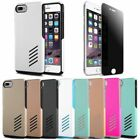 Hybrid Rugged Rubber Hard Case for iPhone 7 / Plus + Privacy Tempered Glass Film