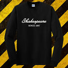 New Shakespeare Fishing Logo Black Long Sleeve T-Shirt Size S-3XL