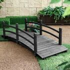 Wood Garden Bridge 6 Ft Black Wooden Decorative Outdoor Backyard Pond Walkway