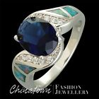 SIZE 5-12 LAB GRAY BLUE BLACK OPAL 8X10MM SIMULATED BLUE SAPPHIRE SILVER SF RING