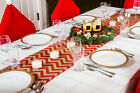"Rustic Christmas Table Runners - 70"" Country Burlap Tablecloth (Chevron Design)"