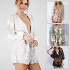 Sexy Women's Jumpsuit Romper V Neck  Long Sleeve Short Clubwear Party