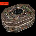 STUNNING CHINESE SOLID SILVER, ENAMEL & CARVED SEMI-PRECIOUS STONES BOX c.1960