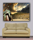 "Wall Art Greek Theater And Soldier Helmet Canvas Print 40""x30"" Framed Or Rolled"