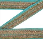 Vintage Sari Border Antique Hand Beaded 1 YD Indian Trim Ribbon Sky Blue Lace