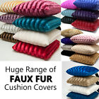 """Faux Fur 18"""" x 18"""" Square Cushion Covers in Many Designs and Colours"""