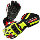 Scorpion SG3 Neon/Red/Black Hard Knuckle Leather Long Motorcycle Riding Gloves