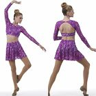 Dance Costume Time After Time Long Sleeve Crop Top & Skirt w/Attached Shorts New