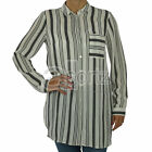 New Ladies Womens F&F White Black Vertical Stripe Long Sleeved Tunic Blouse