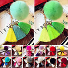 New Women Tassel Rabbit Fur Fuzzy Ball Pompom Keychain Bag Big Charm Key Ring AS