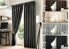 Luxury Faux Silk Pencil Pleat Curtain With Tie Backs