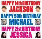"""2 PERSONALISED PHOTO BIRTHDAY BANNERS 36 """"x 11"""" - ANY NAME ANY AGE"""