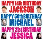 """2 PERSONALISED PHOTO BIRTHDAY BANNER 36 """"x 11"""" - ANY NAME ANY AGE"""