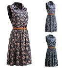Casual Women Prints Sleeveless Button Up Cocktail Evening Party Dress New