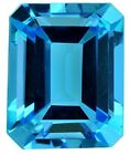Natural Fine Vivid Swiss Blue Topaz - Emerald Cut - Brazil - AAA Grade