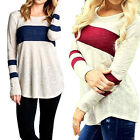 Fashion Women T Shirt Round Collar Solid Long Sleeve Casual Cotton Blouse Tops