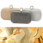 women's Rhinestone Studded Woven Evening Bag Clutch With Wrist Shoulder Strap