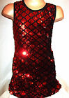 GIRLS BLACK RED SPARKLY SEQUIN EVENING DISCO DANCE PARTY SHORT MINI DRESS TOP