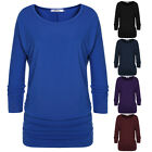 Women O-Neck 3/4 batwing Sleeve Tops Blouse t-shirt casual loose tee EH7E