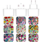 CARRIE SCHMITT FLORALS WHITE US CHARGER & USB CABLE FOR APPLE iPHONE PHONES