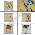 "COTTON ANIMAL ROBIN BIRDS DUCKS RABBIT HARE DEER 17"" X 17"" 43X43CM CUSHION COVER"