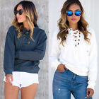 Women's Lace Up V-neck Autumn Casual Long Sleeve Tops Blouse Sweatshirt Hoodies