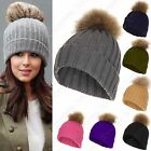 NEW WOMEN CHUNKY KNIT RACOON FUR POM POM BEANIE BOBBLE SKI HAT GIRLS SLOUCH 15cm