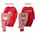 New My First Christmas Baby Boy Girl Romper Bodysuit+Pants Clothes Outfits 0-18M