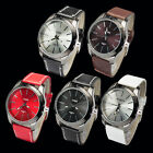 New Colorful Fashion  Unisex Luxury F aux Leather Quartz  Wrist Watches