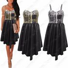 NEW LADIES SEQUINS TOP STRAPLESS BOOBTUBE DRESS WOMEN BLACK SKIRT LEATHER LOOK